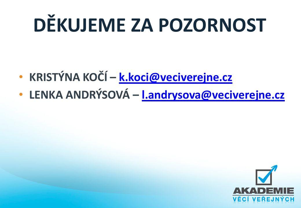 DĚKUJEME ZA POZORNOST KRISTÝNA KOČÍ – k.koci@veciverejne.cz