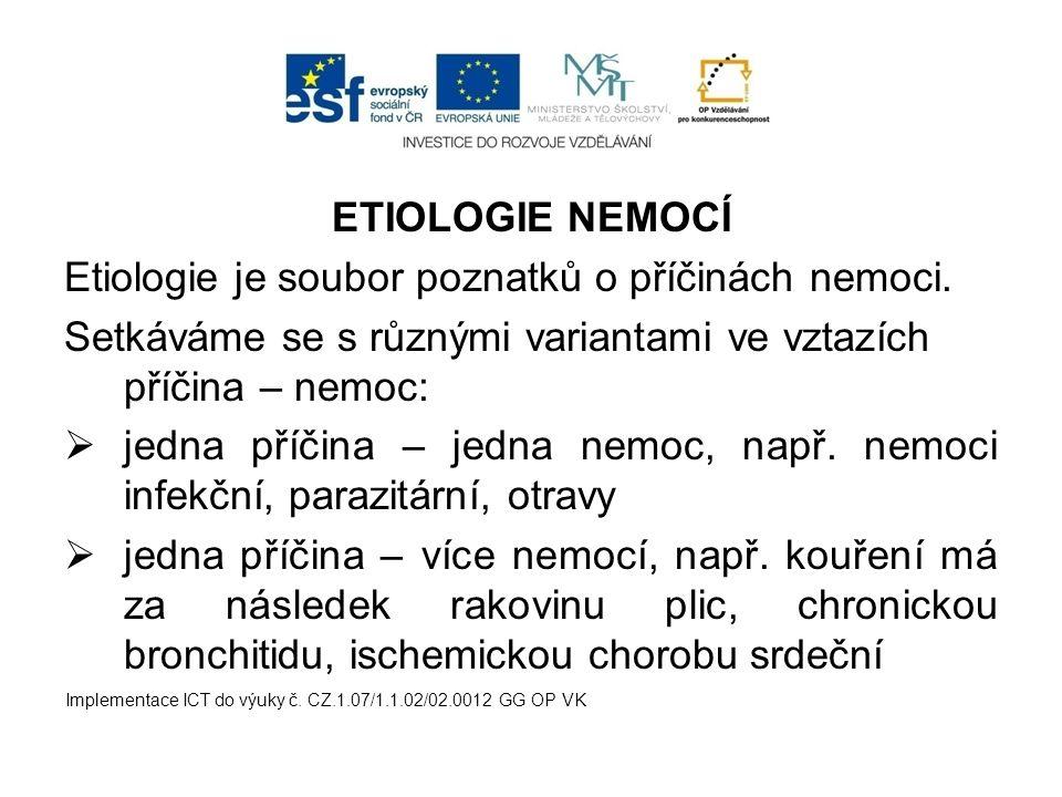Etiologie je soubor poznatků o příčinách nemoci.