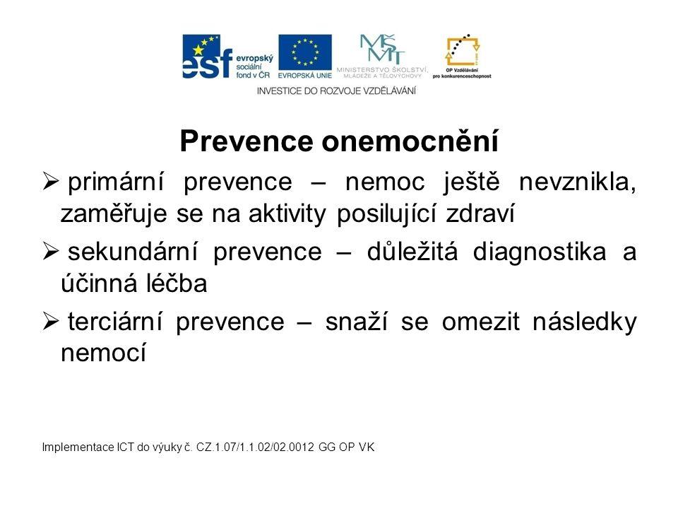 Prevence onemocnění primární prevence – nemoc ještě nevznikla, zaměřuje se na aktivity posilující zdraví.