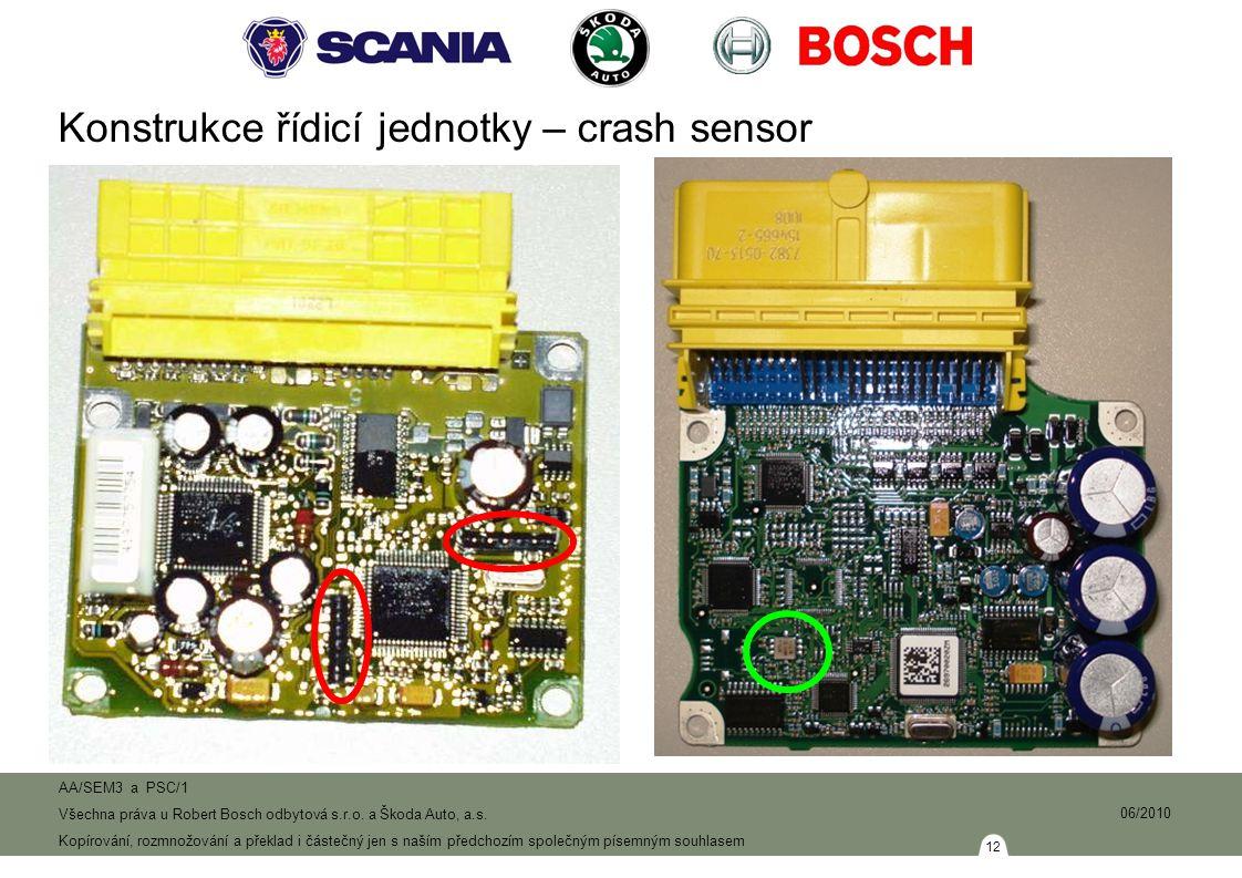 Konstrukce řídicí jednotky – crash sensor