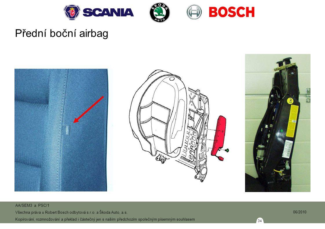 Přední boční airbag Při bočním nárazu jsou aktivovány pouze boční případně hlavové airbagy na straně nárazu.