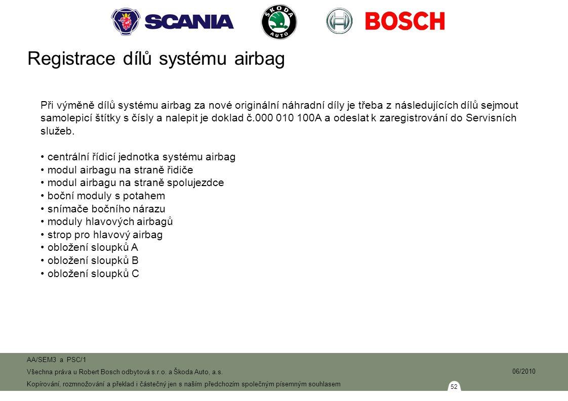 Registrace dílů systému airbag