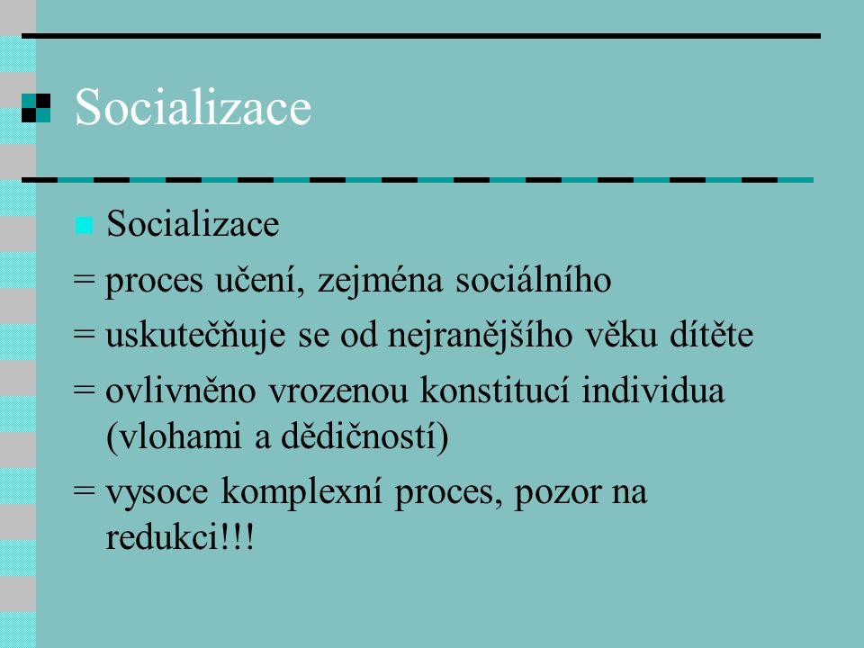 Socializace Socializace = proces učení, zejména sociálního