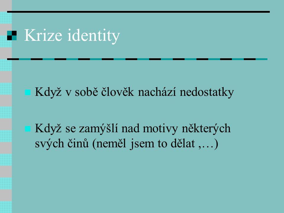Krize identity Když v sobě člověk nachází nedostatky