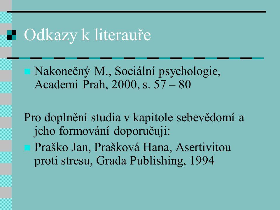 Odkazy k literauře Nakonečný M., Sociální psychologie, Academi Prah, 2000, s. 57 – 80.