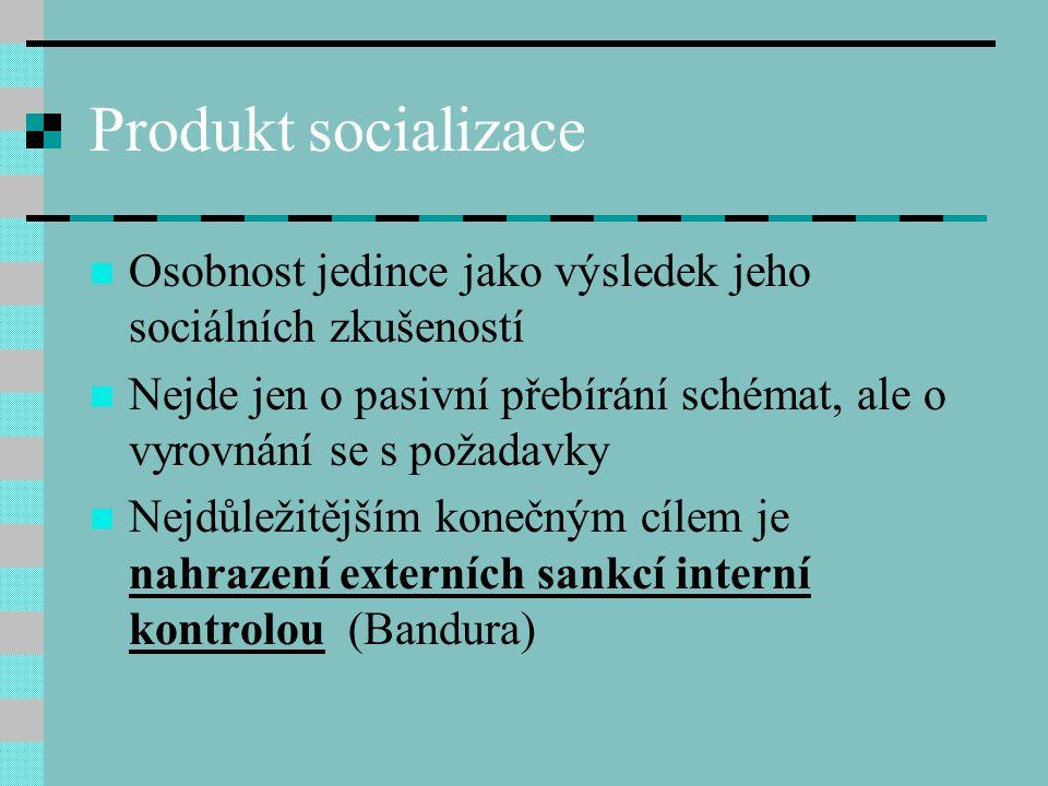 Produkt socializace Osobnost jedince jako výsledek jeho sociálních zkušeností. Nejde jen o pasivní přebírání schémat, ale o vyrovnání se s požadavky.