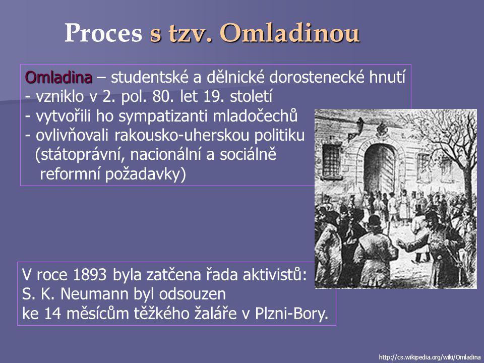 Proces s tzv. Omladinou Omladina – studentské a dělnické dorostenecké hnutí. vzniklo v 2. pol. 80. let 19. století.