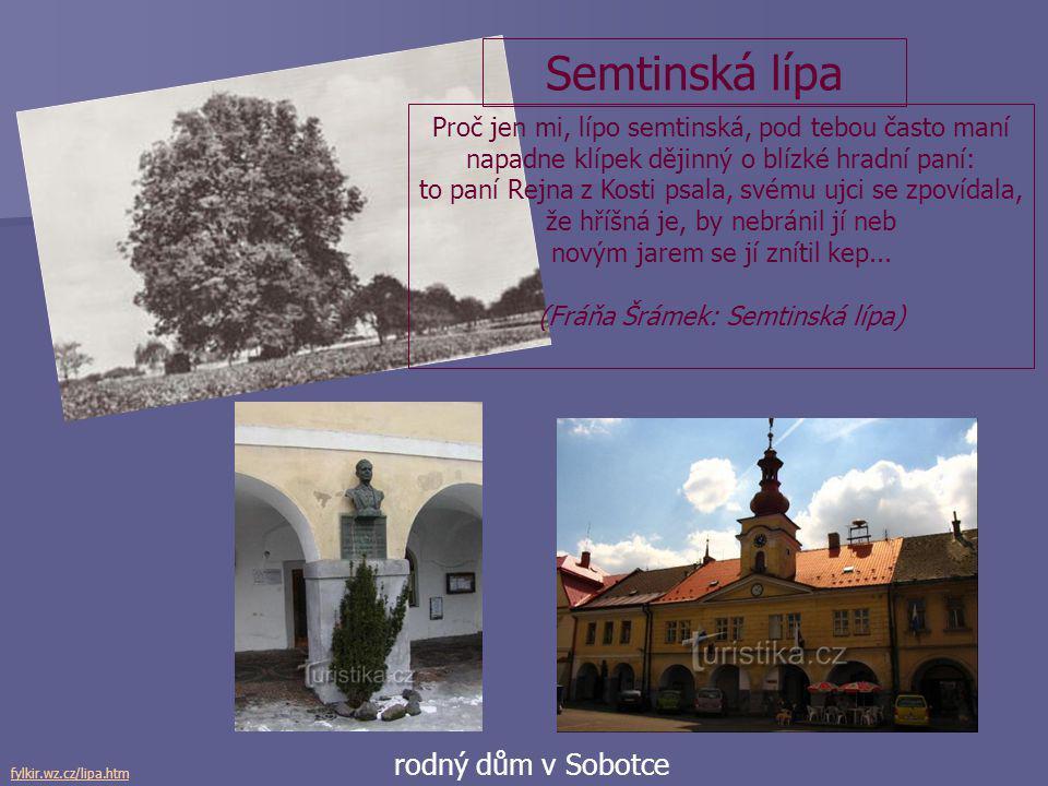 Semtinská lípa rodný dům v Sobotce