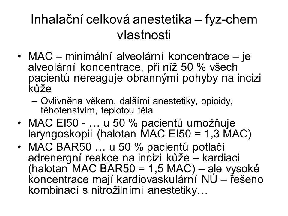 Inhalační celková anestetika – fyz-chem vlastnosti