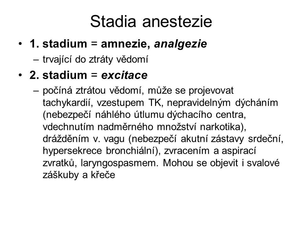 Stadia anestezie 1. stadium = amnezie, analgezie 2. stadium = excitace