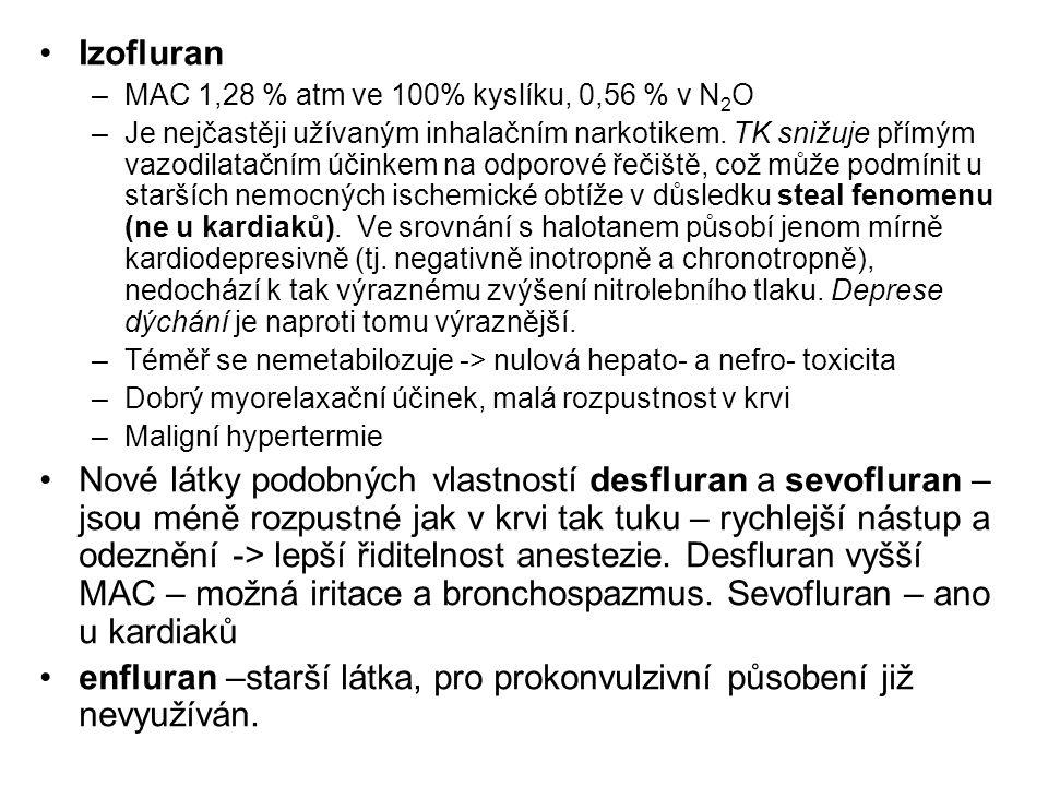 enfluran –starší látka, pro prokonvulzivní působení již nevyužíván.