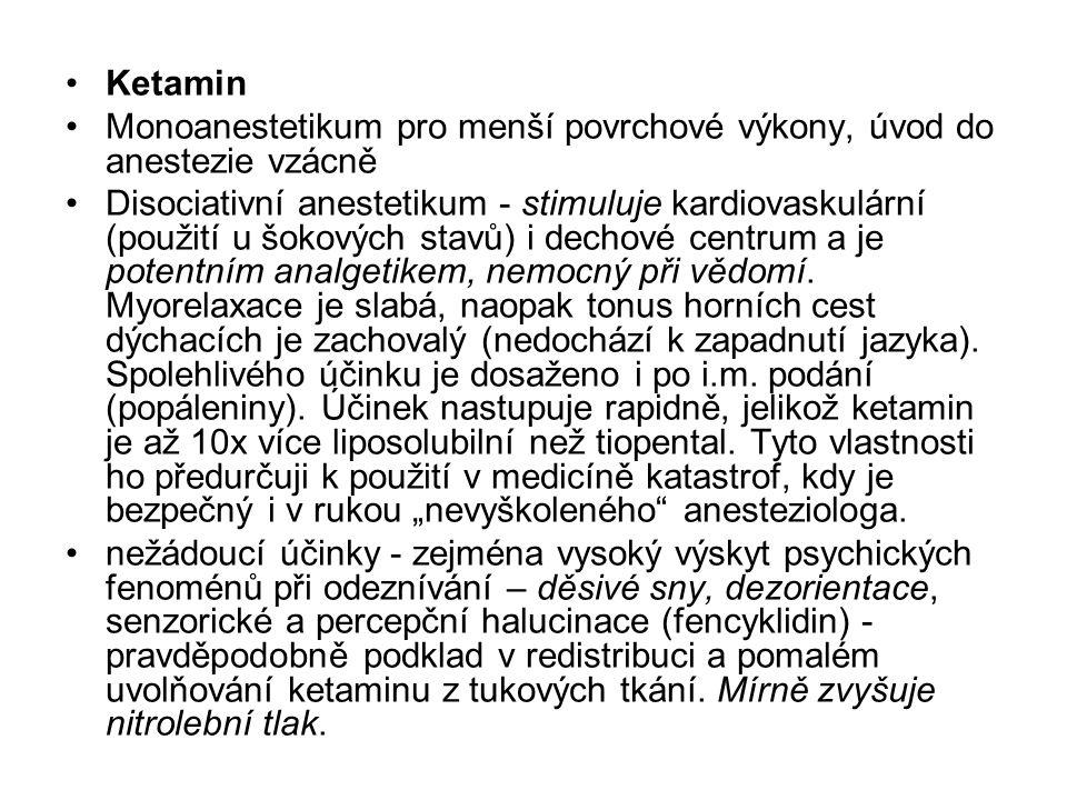 Ketamin Monoanestetikum pro menší povrchové výkony, úvod do anestezie vzácně.