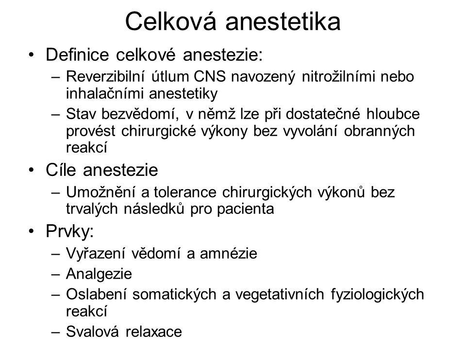 Celková anestetika Definice celkové anestezie: Cíle anestezie Prvky: