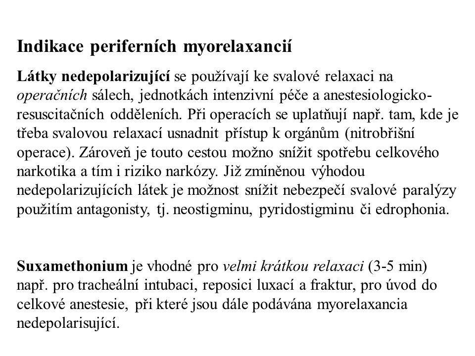 Indikace periferních myorelaxancií