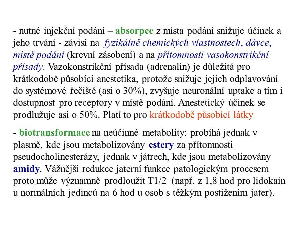 - nutné injekční podání – absorpce z místa podání snižuje účinek a jeho trvání - závisí na fyzikálně chemických vlastnostech, dávce, místě podání (krevní zásobení) a na přítomnosti vasokonstrikční přísady. Vazokonstrikční přísada (adrenalin) je důležitá pro krátkodobě působící anestetika, protože snižuje jejich odplavování do systémové řečiště (asi o 30%), zvyšuje neuronální uptake a tím i dostupnost pro receptory v místě podání. Anestetický účinek se prodlužuje asi o 50%. Platí to pro krátkodobě působící látky.