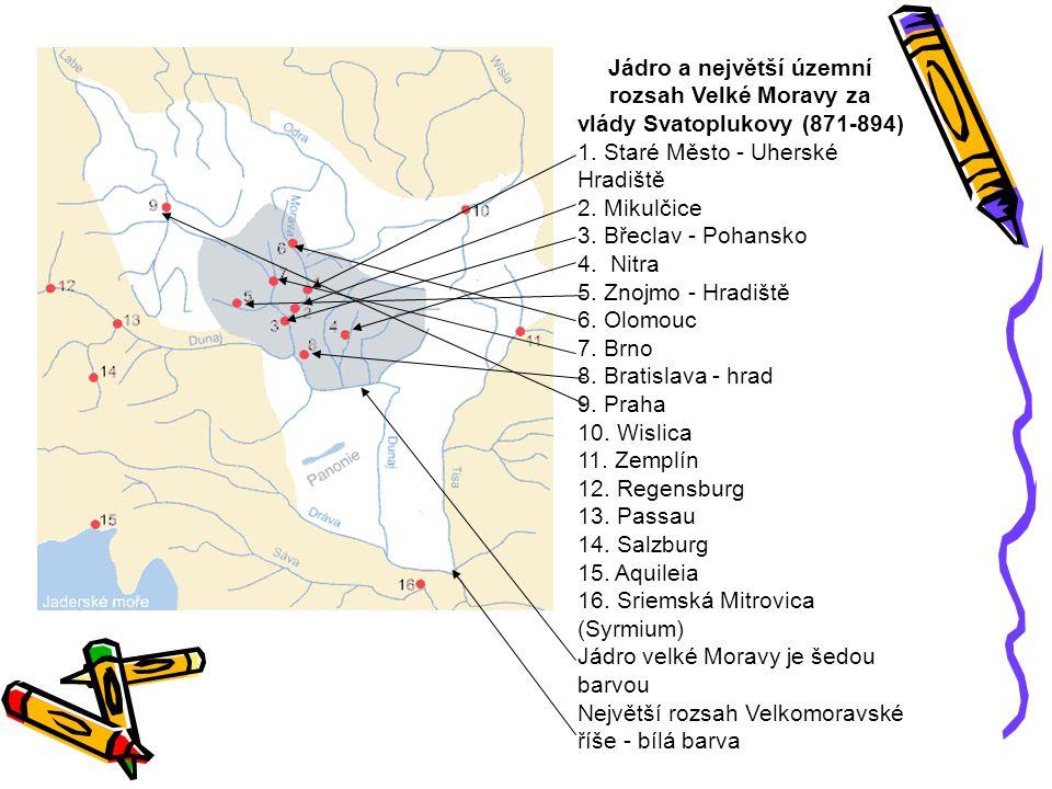 Jádro a největší územní rozsah Velké Moravy za vlády Svatoplukovy (871-894)