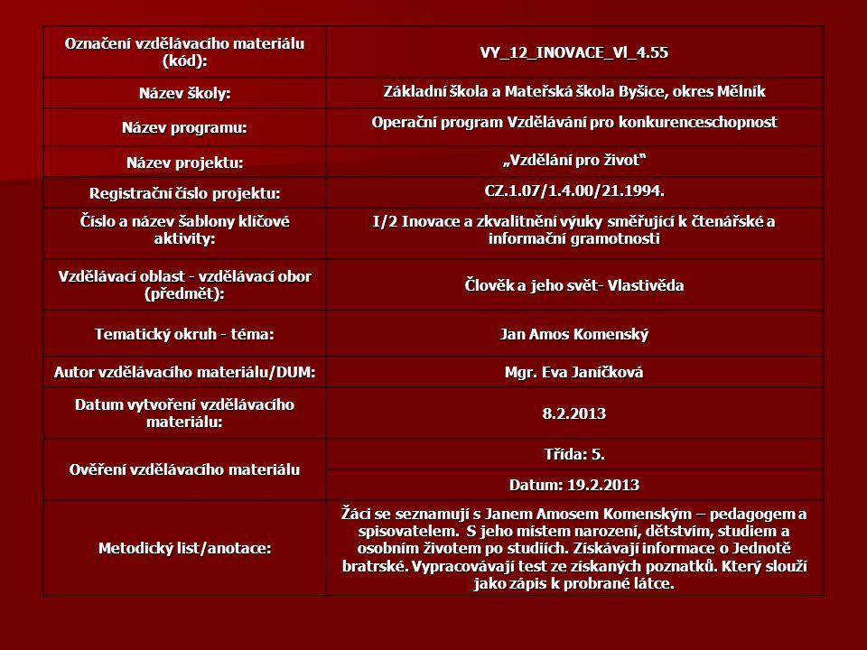 Označení vzdělávacího materiálu (kód): VY_12_INOVACE_Vl_4.55
