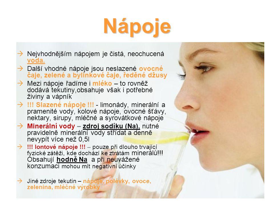 Nápoje Nejvhodnějším nápojem je čistá, neochucená voda.
