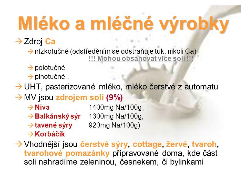 Mléko a mléčné výrobky Zdroj Ca