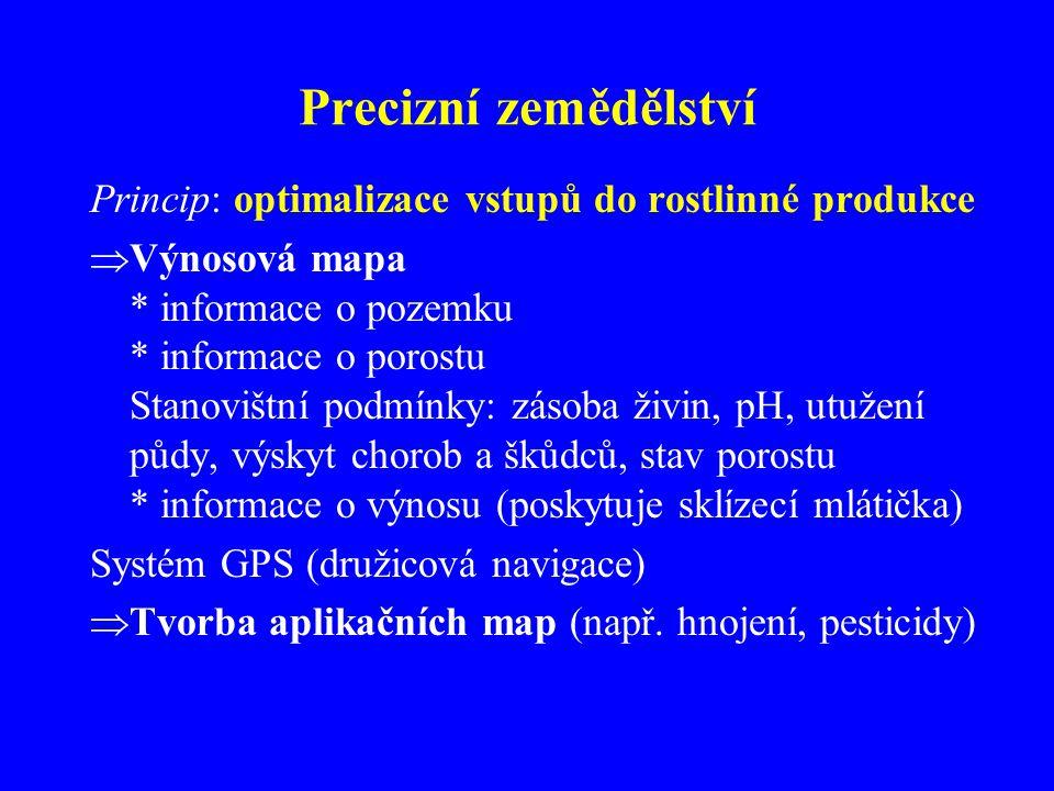 Precizní zemědělství Princip: optimalizace vstupů do rostlinné produkce.