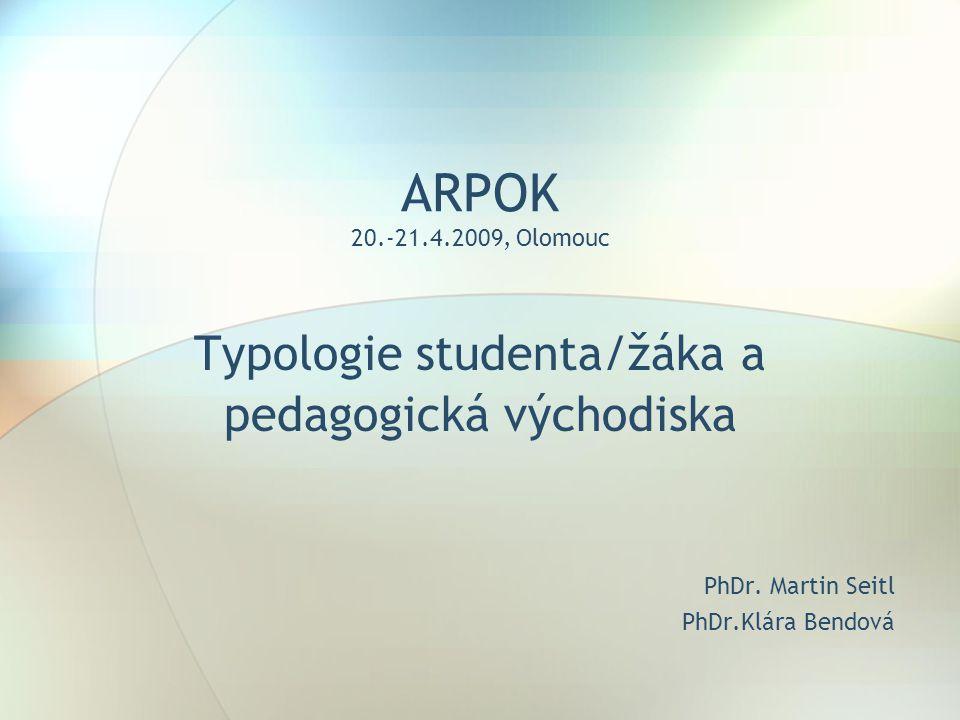 Typologie studenta/žáka a pedagogická východiska