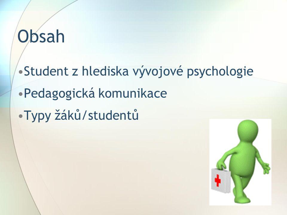 Obsah Student z hlediska vývojové psychologie Pedagogická komunikace