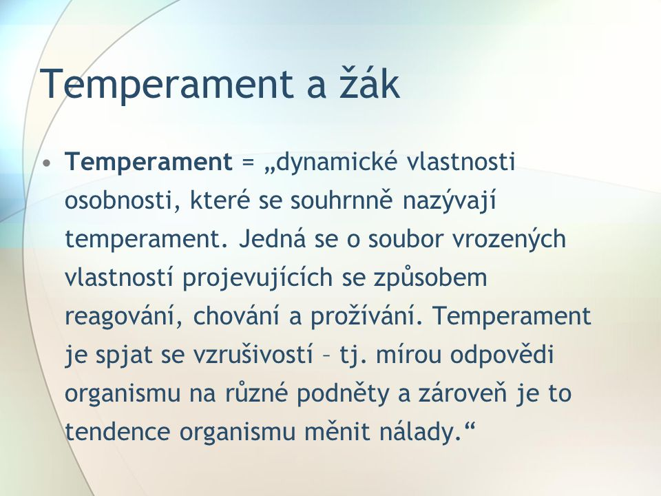 Temperament a žák