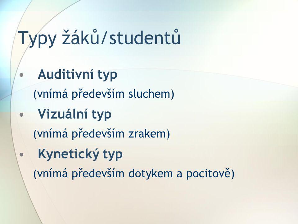 Typy žáků/studentů Auditivní typ Vizuální typ Kynetický typ