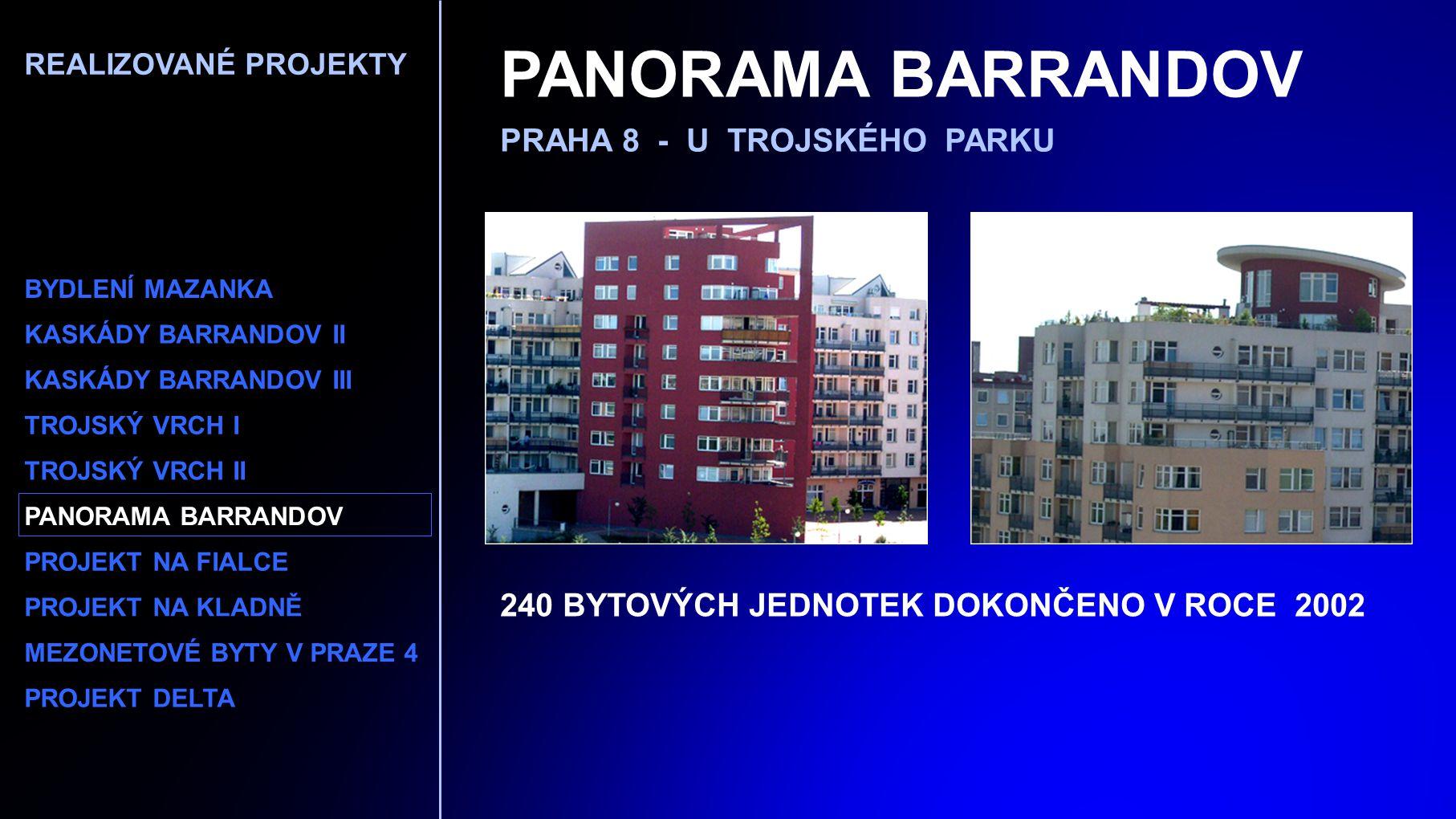 PANORAMA BARRANDOV PRAHA 8 - U TROJSKÉHO PARKU