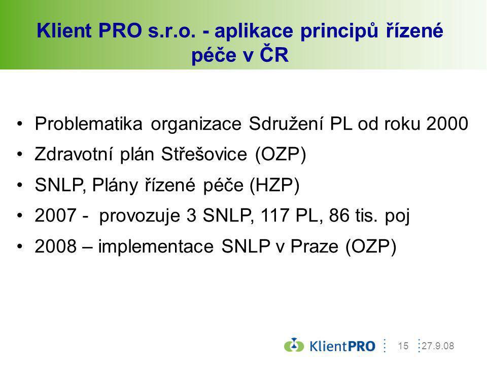 Klient PRO s.r.o. - aplikace principů řízené péče v ČR
