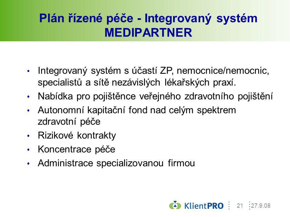 Plán řízené péče - Integrovaný systém MEDIPARTNER