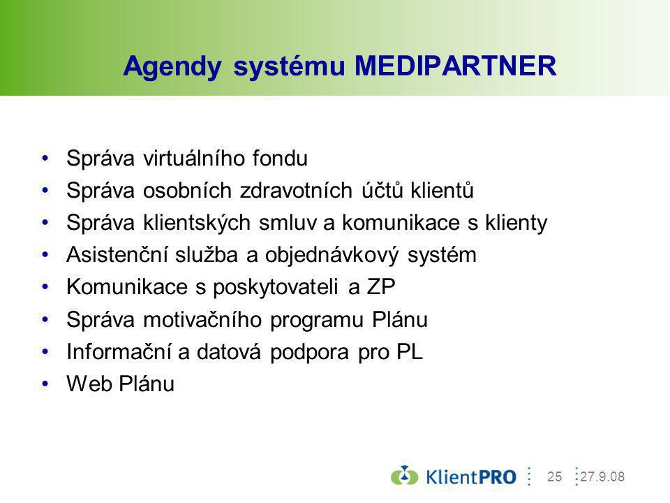 Agendy systému MEDIPARTNER