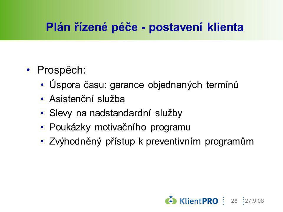 Plán řízené péče - postavení klienta