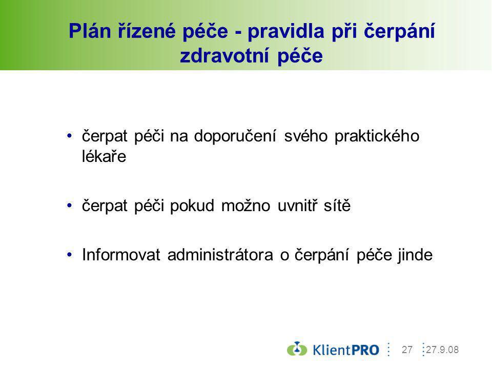Plán řízené péče - pravidla při čerpání zdravotní péče