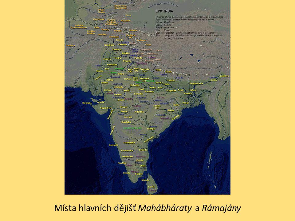 Místa hlavních dějišť Mahábháraty a Rámajány