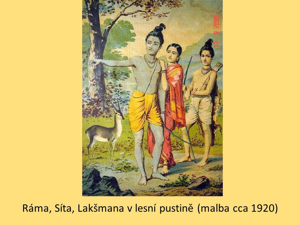 Ráma, Síta, Lakšmana v lesní pustině (malba cca 1920)