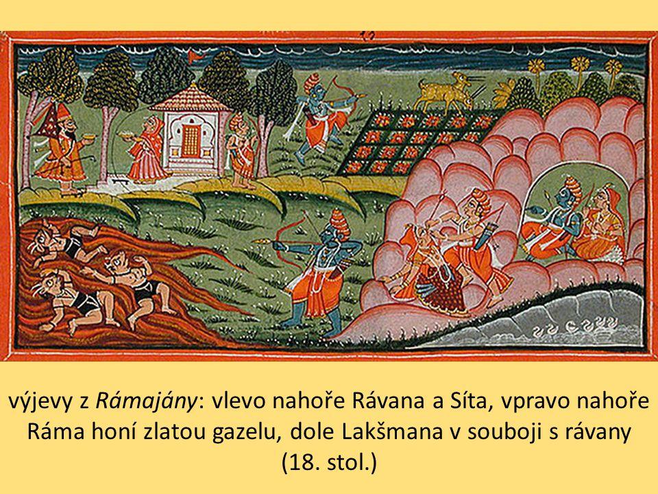 výjevy z Rámajány: vlevo nahoře Rávana a Síta, vpravo nahoře Ráma honí zlatou gazelu, dole Lakšmana v souboji s rávany (18.