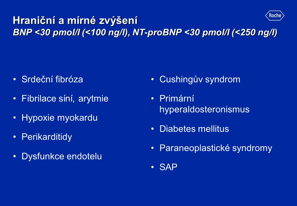Hraniční a mírné zvýšení BNP <30 pmol/l (<100 ng/l), NT-proBNP <30 pmol/l (<250 ng/l)
