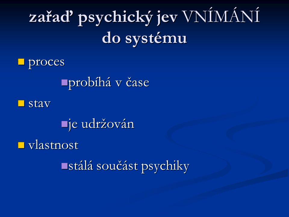 zařaď psychický jev VNÍMÁNÍ do systému