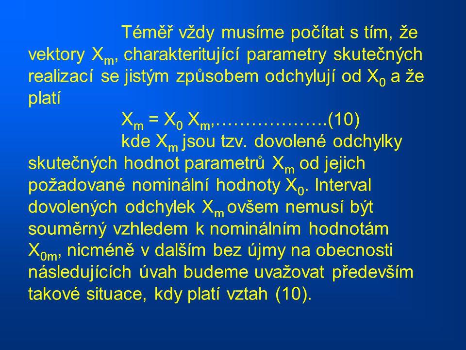 Téměř vždy musíme počítat s tím, že vektory Xm, charakteritující parametry skutečných realizací se jistým způsobem odchylují od X0 a že platí Xm = X0 Xm,……………….(10) kde Xm jsou tzv.