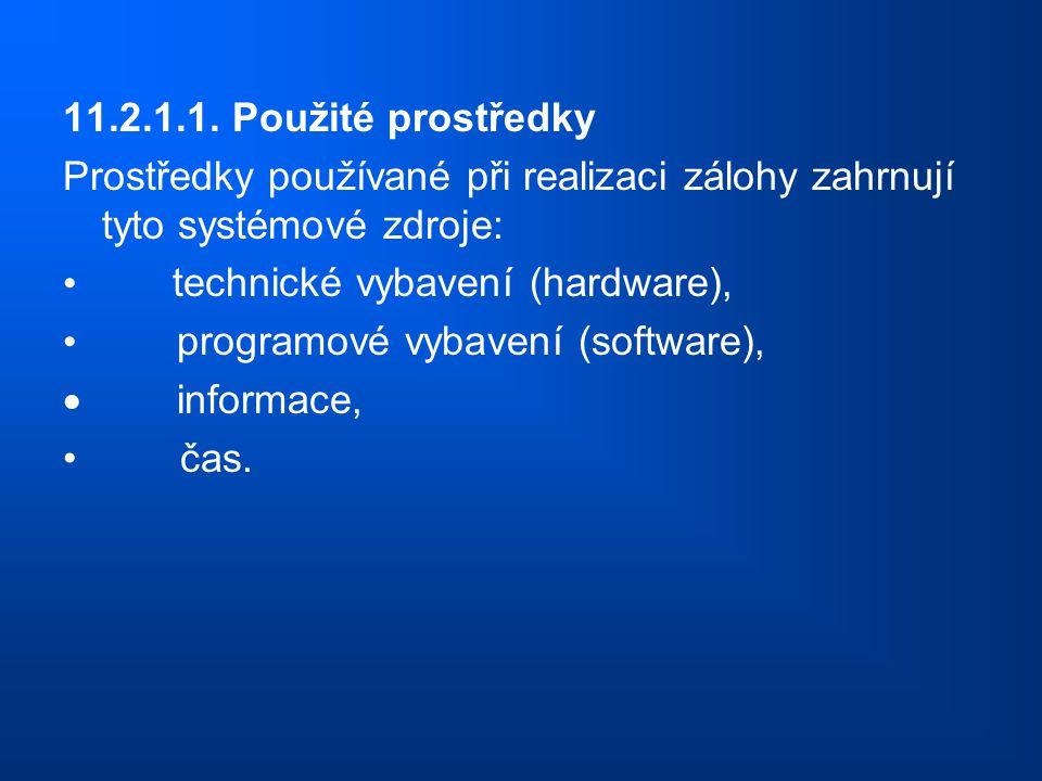 11.2.1.1. Použité prostředky Prostředky používané při realizaci zálohy zahrnují tyto systémové zdroje: