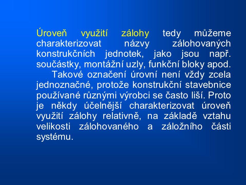 Úroveň využití zálohy tedy můžeme charakterizovat názvy zálohovaných konstrukčních jednotek, jako jsou např.
