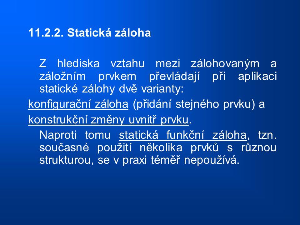 11.2.2. Statická záloha Z hlediska vztahu mezi zálohovaným a záložním prvkem převládají při aplikaci statické zálohy dvě varianty: