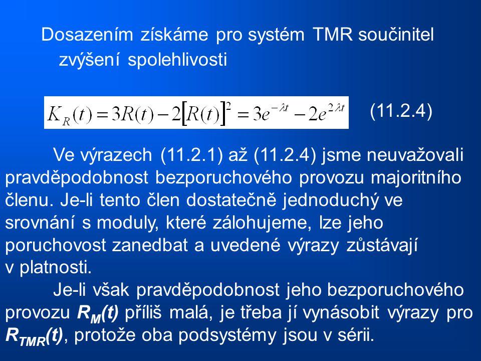 Dosazením získáme pro systém TMR součinitel zvýšení spolehlivosti