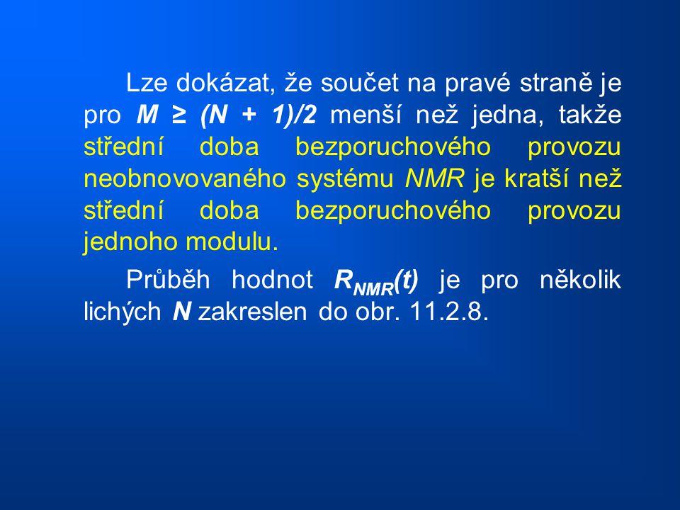 Lze dokázat, že součet na pravé straně je pro M ≥ (N + 1)/2 menší než jedna, takže střední doba bezporuchového provozu neobnovovaného systému NMR je kratší než střední doba bezporuchového provozu jednoho modulu.