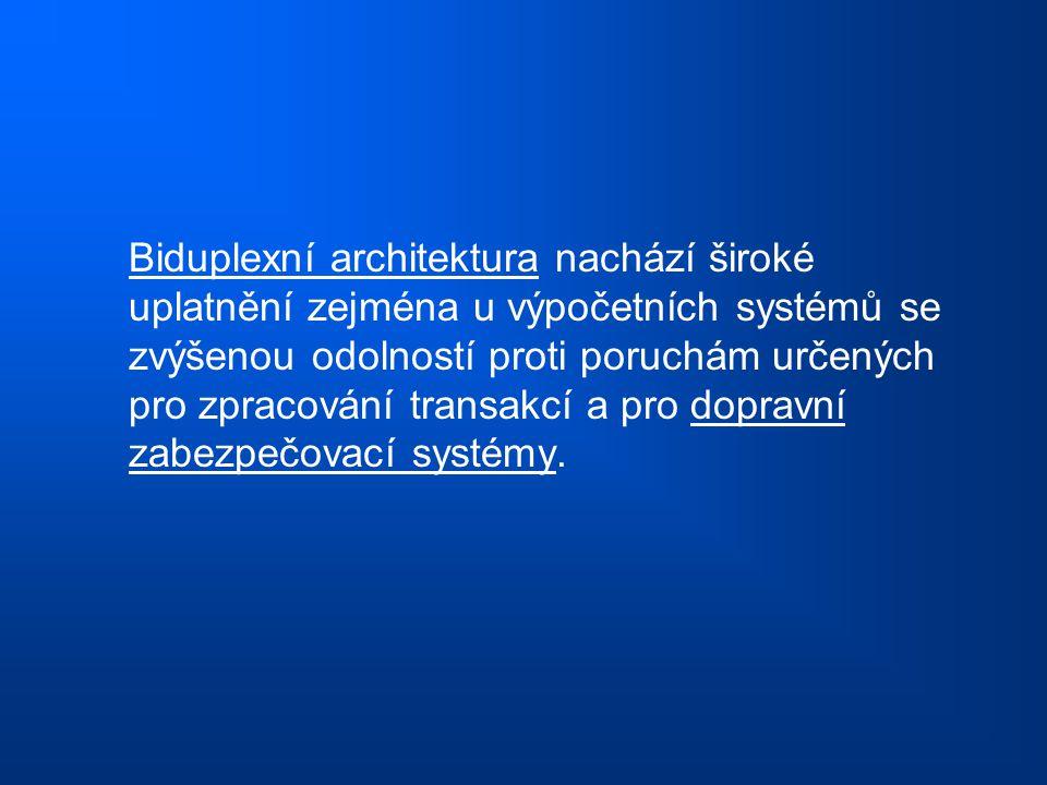 Biduplexní architektura nachází široké uplatnění zejména u výpočetních systémů se zvýšenou odolností proti poruchám určených pro zpracování transakcí a pro dopravní zabezpečovací systémy.