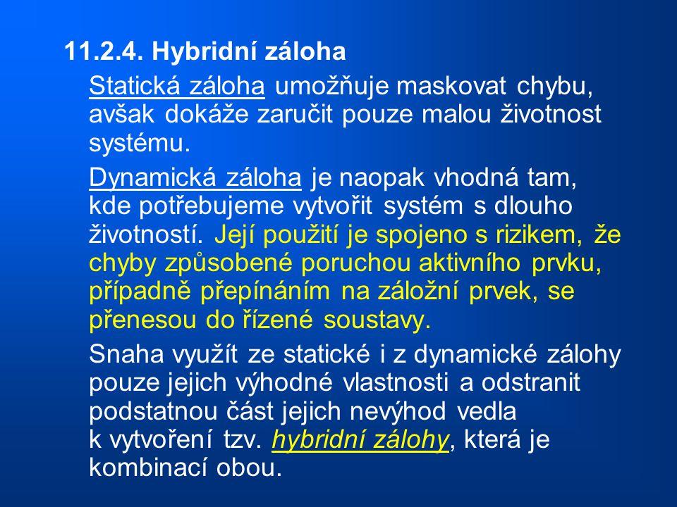 11.2.4. Hybridní záloha Statická záloha umožňuje maskovat chybu, avšak dokáže zaručit pouze malou životnost systému.
