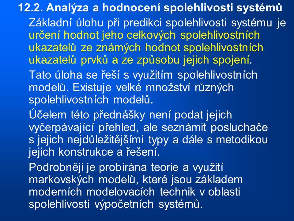 12.2. Analýza a hodnocení spolehlivosti systémů