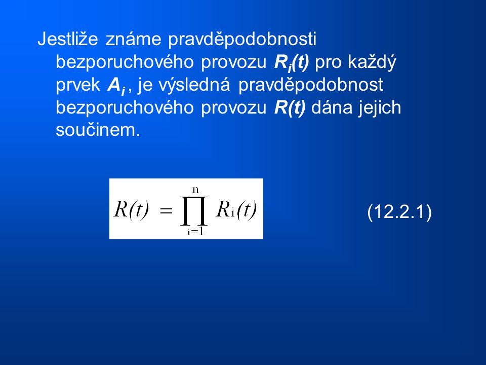 Jestliže známe pravděpodobnosti bezporuchového provozu Ri(t) pro každý prvek Ai , je výsledná pravděpodobnost bezporuchového provozu R(t) dána jejich součinem.
