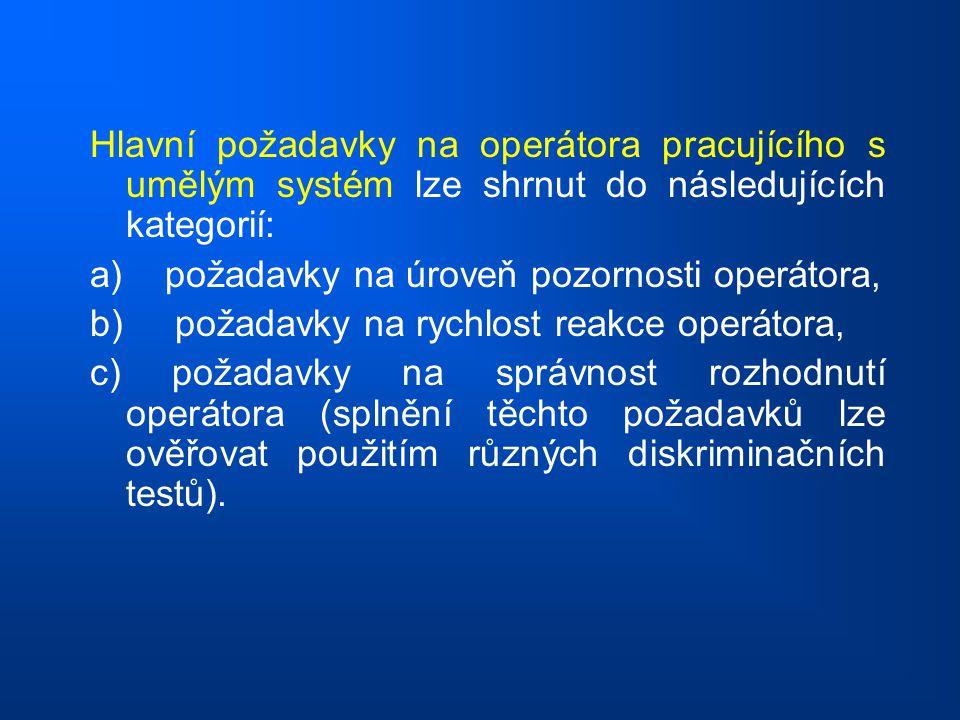 Hlavní požadavky na operátora pracujícího s umělým systém lze shrnut do následujících kategorií: